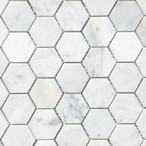 Marble Hex White Honed 2x2