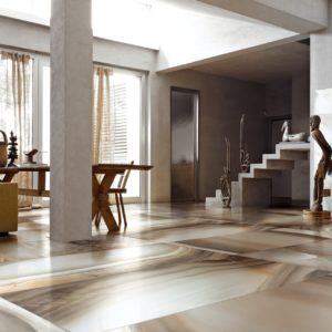 A living room with modern bamboo Alabastri Tile flooring
