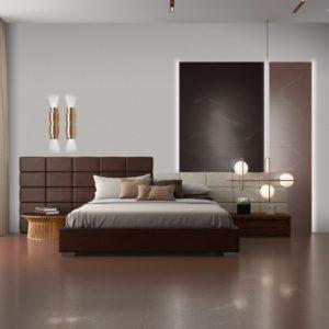A bedroom with Azteca Akila Tile flooring