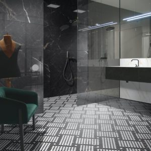 A room with Vallelunga Cava Tile Flooring
