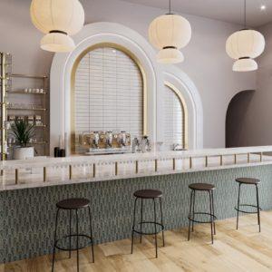 A bar with Oval Green Roca Epoque Tile