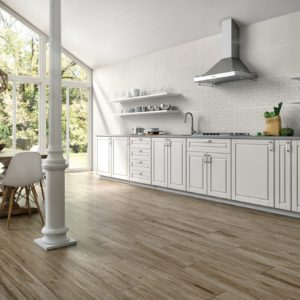 A modern, country kitchen featuring Ape Grupo Click Tile, in Mist color