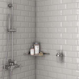 A shower with Tender Gray Bright Beveled Roca Color Collection Tiles