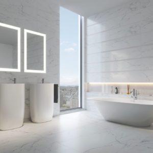 A bathroom with Marble Carrara Tile