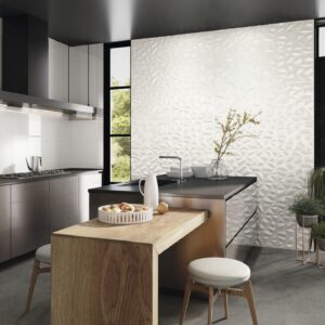 Silk Collection Tile - Fold White in a modern kitchen