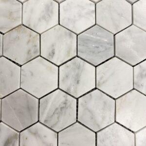 Carrara Bianco Honed Mosaic Hex Tile