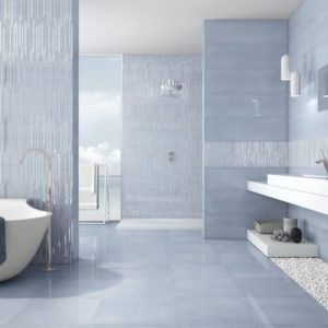 Sky color Intuition Tile in a bathroom