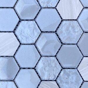 Imagery Nickel Hex Mosaic Tile