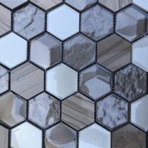 Imagery Platinum Hex Mosaic Tile