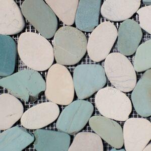 Pebble White/Green Mosaic Porcelain Tile