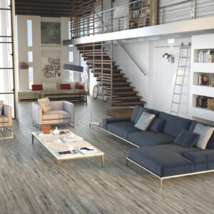 A modern, contemporary living room with Sequoia Tile - Gris