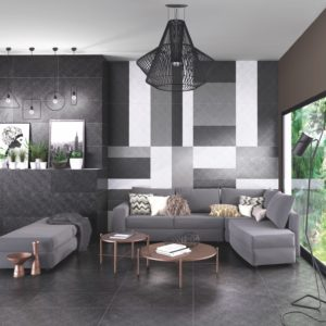 A modern living room with Azteca Harley Lux Tile flooring.