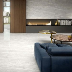 Contemporary living room with Unicom Cosmic Tile Flooring