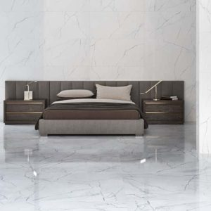 A designer living room with floor to wall Eco Ceramic Elegance Marble tile