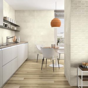 A contemporary kitchen with the Calma Tile collection by APE Grupo