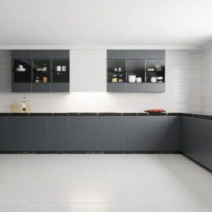 A modern designer kitchen with Bellezza 3D wall tile