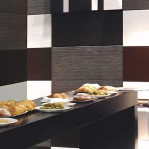 Azteca Lines Collection tile in a designer dining room