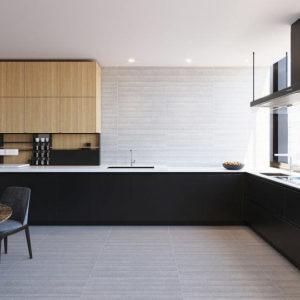A modern designer kitchen with Bellezza Ceramica wall tile