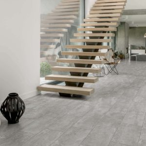A floating staircase with Florim USA Core tile