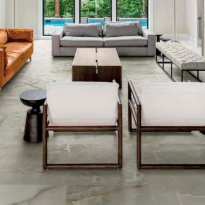 A contemporary living room with Florim USA Onyx tile flooring