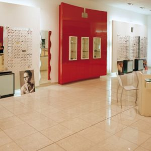 The inside of a optometrist office featuring Imola Micron tile from Imola